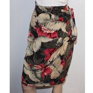 Dana Buchman silk Pink green floral wrap skirt